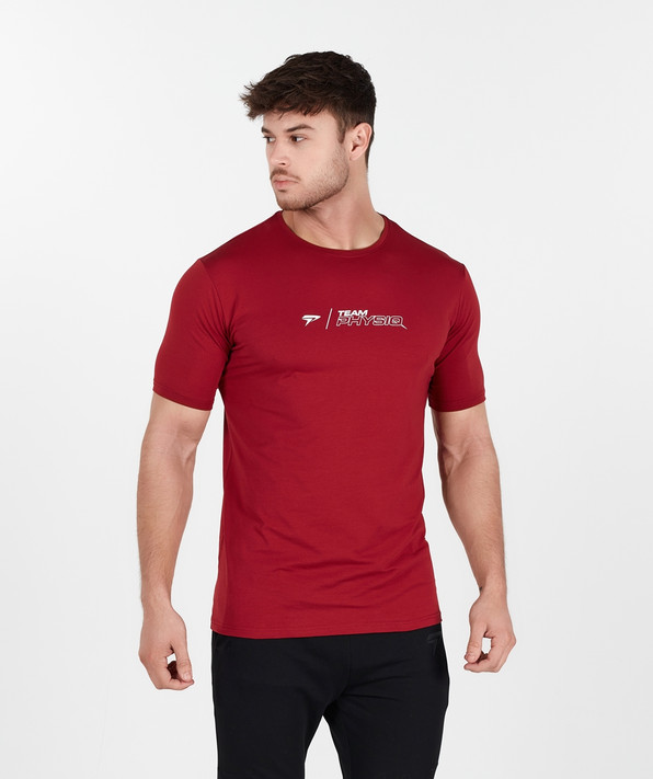 TeamPhysiq Minimal TShirt -  Crimson Red