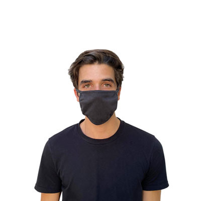 Cotton Face Mask Black, Antimicrobial Finish, Pack of 10