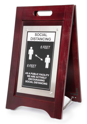 Social Distancing Floor Sign 24x14 Walnut, Nickel
