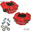 C13-16-2526-R - EMPI/WILWOOD - RED - 2 PISTON CALIPER CONVERSION KIT WITH BRAKE PADS AND MOUNTING BOLTS (REPLACES ALL POPULAR BEETLE/GHIA DISC BRAKE CALIPERS) - SOLD RED PAIR