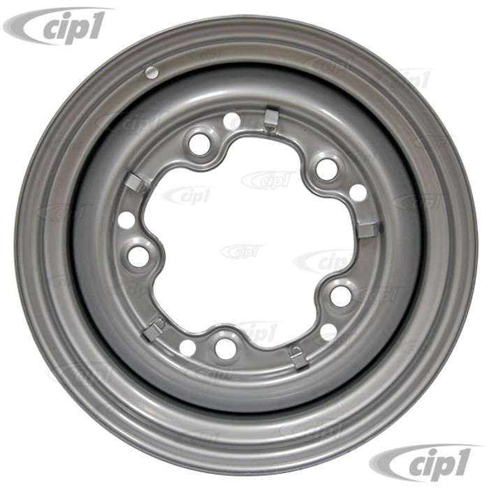 ACC-C10-6620-SMSL - STOCK SMOOTHIE 5X205MM 5 BOLT STEEL WHEEL - PAINTED SILVER - 15X4-1/2 (3-3/4 INCH BACK SPACING) HUBCAP SOLD SEPARATELY - BEETLE 52-67 GHIA 56-65 T-3 62-65 BUS 52-73 - SOLD EACH