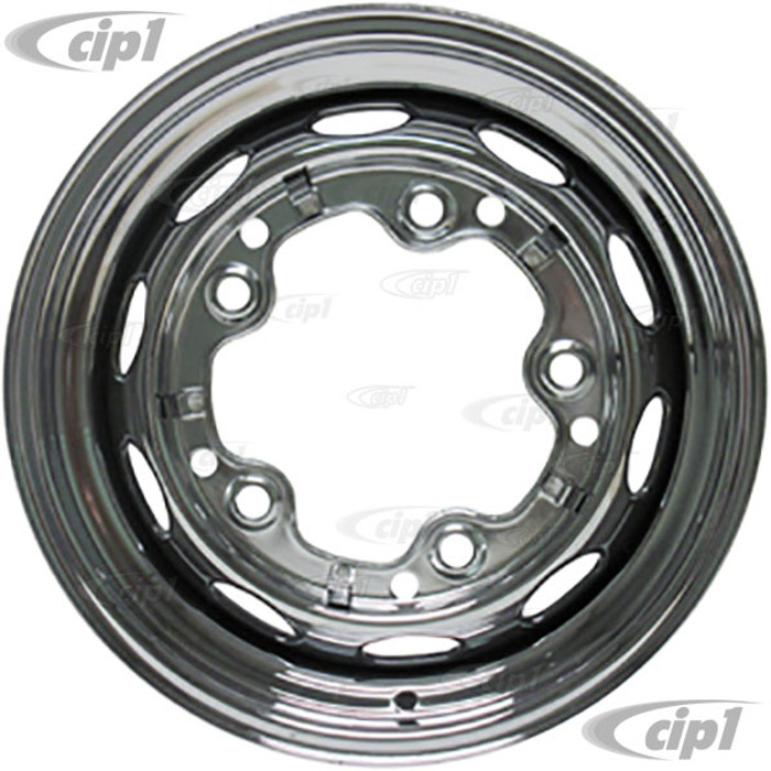 ACC-C10-6621 - CHROME STOCK 5X205MM 5 BOLT STEEL WHEEL - 15X5-1/2  (3-3/4 INCH BACK SPACING) - BEETLE/GHIA/TYPE-3 (1 INCH WIDER THEN STOCK CHECK CLEARANCE BEFORE ORDERING) - SOLD EACH