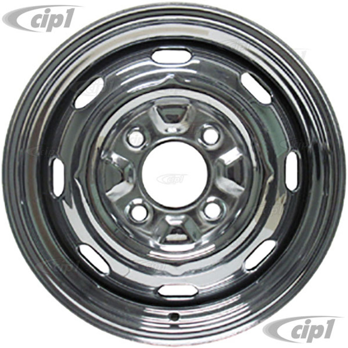 ACC-C10-6623 - CHROME 4 BOLT STEEL WHEEL 15 X 5-1/2 ( 4-1/4 INCH BACK SPACING) READ SPECIAL NOTES ABOUT HUB CAPS! - (A20)