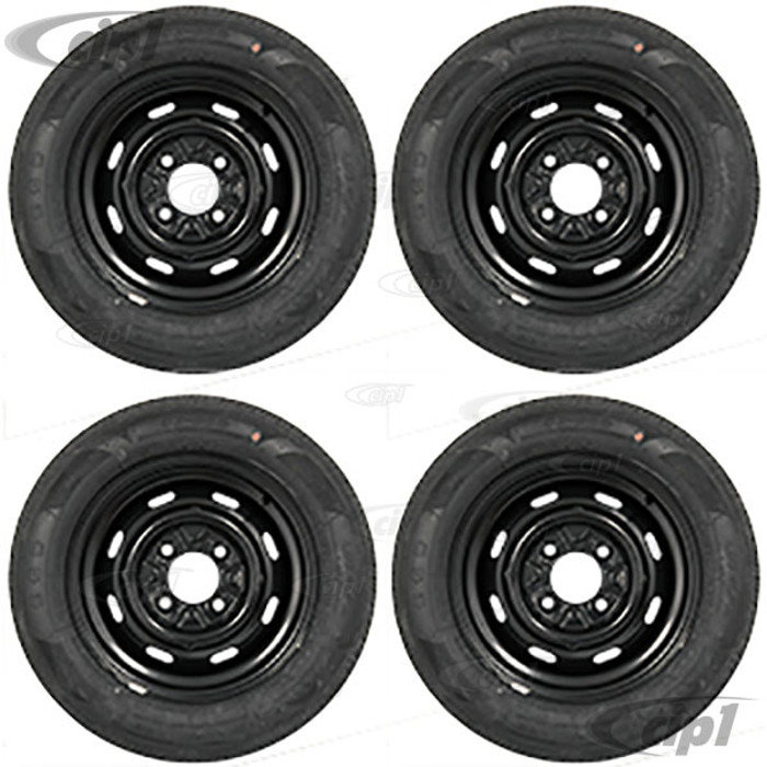 ACC-C10-6623-MB-KIT - SEMI-GLOSS BLACK 4X130 WHEEL AND TIRE PACKAGE (15X5-1/2 - 4-1/4 INCH B/SPACING) 65/80R15 NANKANG RADIAL TIRES - MOUNTED & BALANCED WITH CHROME VALVE STEMS - SOLD SET