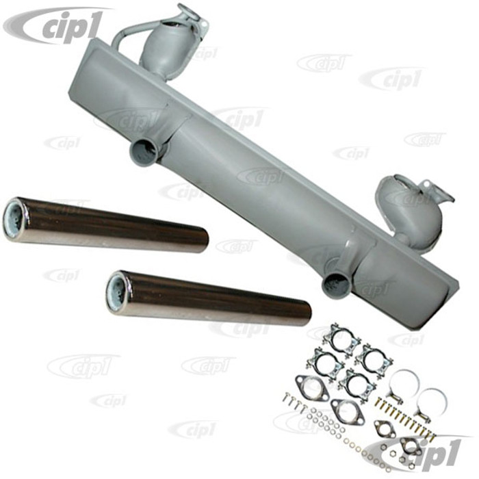 VWC-111-251-051-HKT - (111251051H) OE QUALITY MADE BY DANSK - COMPLETE MUFFLER KIT FOR 1200CC / 40HP FRESH AIR -  INCLUDES MOUNTING CLAMPS/HARDWARE/GASKETS/TAIL PIPES  - BEETLE/GHIA 12/62-65 - SOLD KIT
