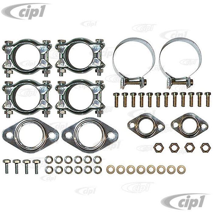 VWC-111-298-009-ADLX - (111298009A) DELUXE MUFFLER INSTALLATION KIT WITH HEATERBOX BAND CLAMPS  - BEETLE/GHIA 63-74 / BUS 63-71 / THING 73-74 - SOLD KIT