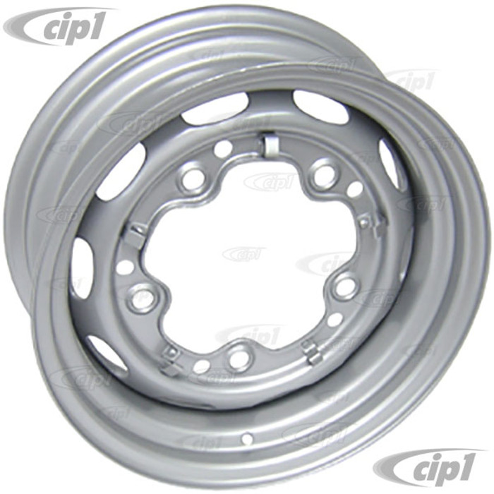 ACC-C10-6626 - STOCK 5X205MM 5 BOLT STEEL WHEEL - PAINTED SILVER - 15X5-1/2 (3-3/4 INCH BACK SPACING) - BEETLE/GHIA/TYPE-3 (1 INCH WIDER THEN STOCK CHECK CLEARANCE BEFORE ORDERING) - SOLD EACH