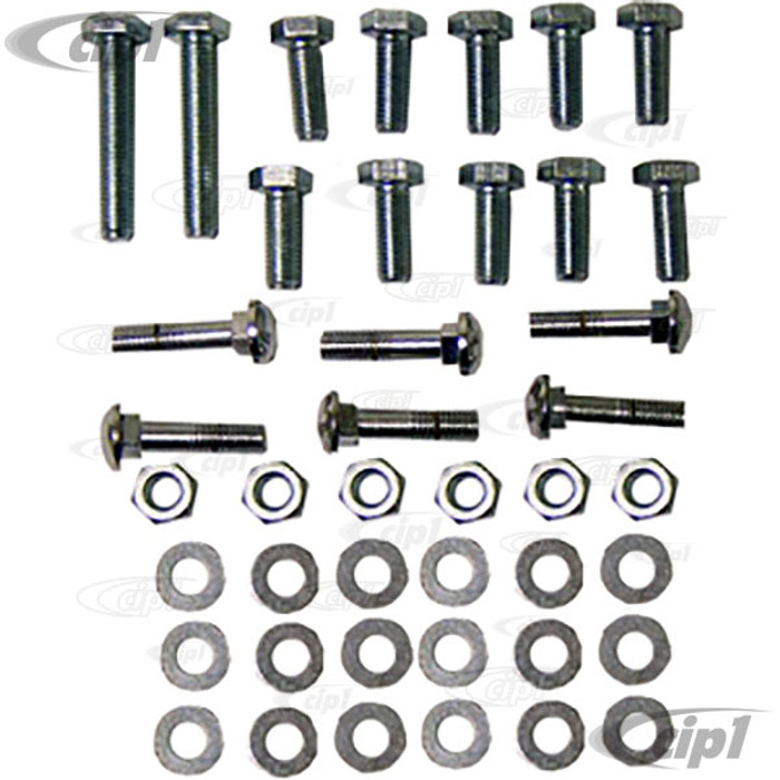 VWC-111-798-100 - 42 PIECE BUMPER BOLT KIT - INCLUDES ALL HARDWARE TO ASSEMBLE AND MOUNT FRONT AND REAR - BEETLE 54-67