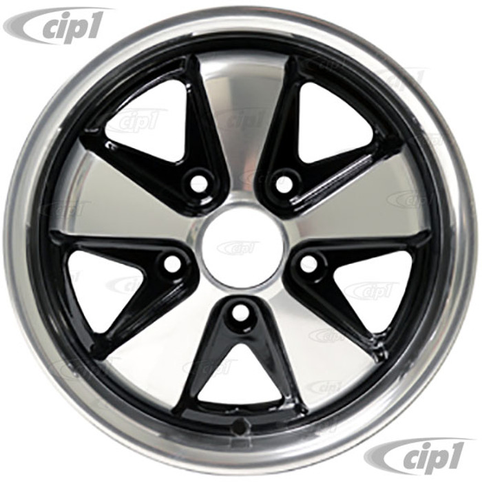 ACC-C10-6648 - 911 STYLE 5 SPOKE ALUMINUM WHEEL - BLACK WITH POLISHED SPOKES - 5.5 INCH WIDE X 15 INCH DIA. - 5X130MM BOLT PATTERN (5 INCH BACKSPACE) - CENTER CAP AND HARDWARE SOLD SEPARATELY