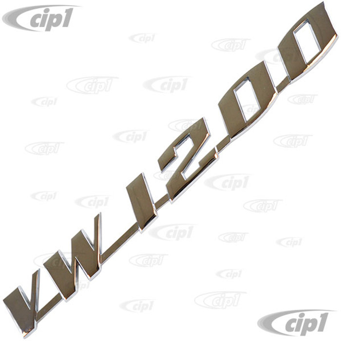 VWC-111-853-687 - (111853687) - VW-1200 VOLKSWAGEN DECK LID SCRIPT WITH 4MM PINS - BEETLE (VWC-113-853-695-3 MOUNTING CLIPS SOLD SEP.) - SOLD EACH