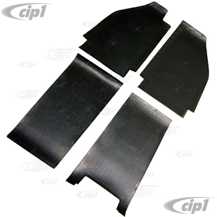 VWC-111-863-001 - (111863001) TOP QUALITY 53-55 BEETLE FRONT & REAR BLACK RUBBER MAT (SEE NOTES ABOUT COLOR) - 4 PIECE SET