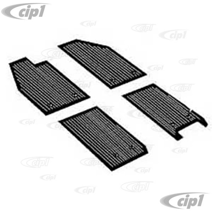 VWC-111-863-002 - (111863002) TOP QUALITY 56-59 BEETLE FRONT & REAR BLACK RUBBER MAT WITH ORIGINAL MOUNTING HOLES (SEE NOTES ABOUT COLOR) - 4 PIECE SET
