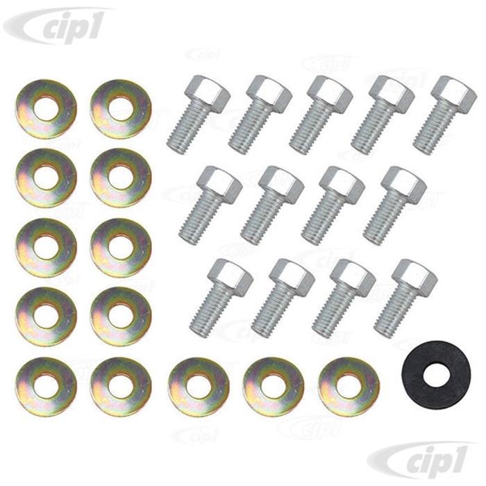 VWC-111-898-002-GR - (111898002) - GERMAN - DELUXE OE STYLE FENDER BOLT AND WASHER KIT - WITH ORIGINAL STYLE TALL BOLTS - DOES 1 FENDER - BEETLE 46-79 - SOLD KIT