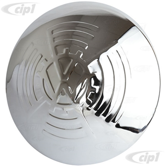 ACC-C10-6678-SSKDF - (111-601-151 111601151) EXCELLENT QUALITY - POLISHED STAINLESS STEEL VINTAGE STYLE HUBCAP WITH KDF COGGED LARGE EMBLEM - 5 BOLT WHEEL - BEETLE/GHIA 56-65 - BUS 50-70 - TYPE-3 62-65 - THING 73-74 - SOLD EACH