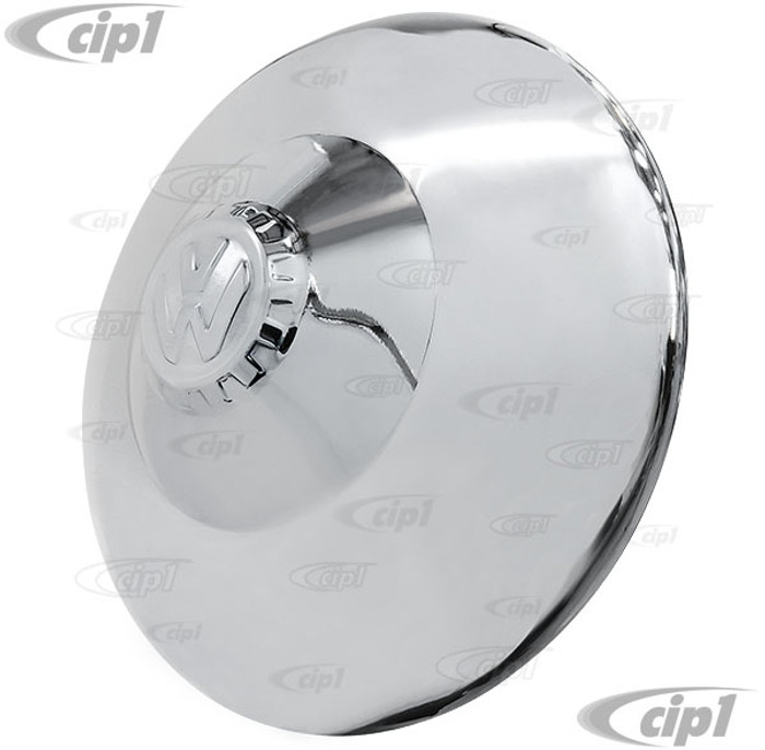 ACC-C10-6678-SSNP - (111-601-151 111601151) EXCELLENT QUALITY - POLISHED STAINLESS STEEL VINTAGE STYLE NIPPLE HUBCAP WITH KDF EMBLEM - 5 BOLT WHEEL - BEETLE/GHIA 56-65 - BUS 50-70 - TYPE-3 62-65 - THING 73-74 - SOLD EACH