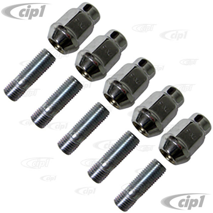 ACC-C10-6679 - 12MM WHEEL HARDWARE KIT - 12MM STUDS WITH CHROME ACORN NUTS - 10 PIECES - BEETLE/GHIA 46-67 - FOR BRM/RADER/SPRINT STAR WIDE 5 WHEELS - DOES 1 WHEEL - 4 KITS REQUIRED PER CAR