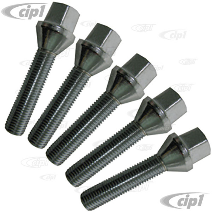 ACC-C10-6681 - 12MM X 40MM EXTRA LONG CHROME WHEEL BOLTS DESIGNED TO BE USED WHEN USING SPACERS- 60% ACORN BOLTS - SET OF 5 - BEETLE/GHIA 46-67 - BRM & RADER WIDE 5 WHEELS