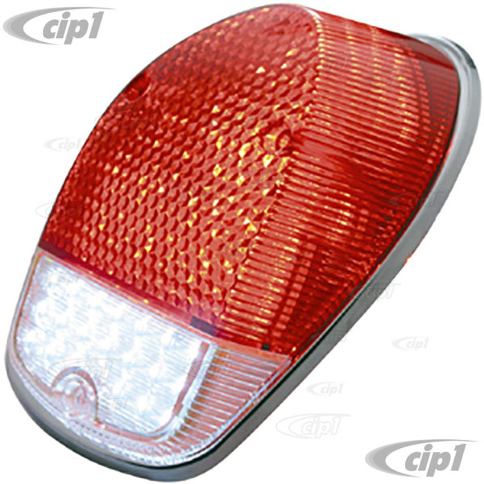 VWC-111-945-241-JLED - LED UPGRADE TAIL LIGHT CONVERSION WITH RED LENS - WITH POLISHED STAINLESS STEEL TRIM RING - LEFT OR RIGHT - BEETLE 68-70 - SOLD EACH