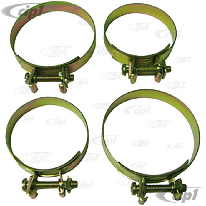 VWC-113-129-730-KT - SET OF 4 - OE QUALITY AND STYLE INTAKE BOOT CLAMPS - 2 SMALL + 2 LARGE CLAMPS FOR ALL DUAL PORT INTAKE MANIFOLD BOOTS - 71-74 D/P ENG. SOLD SET OF 4