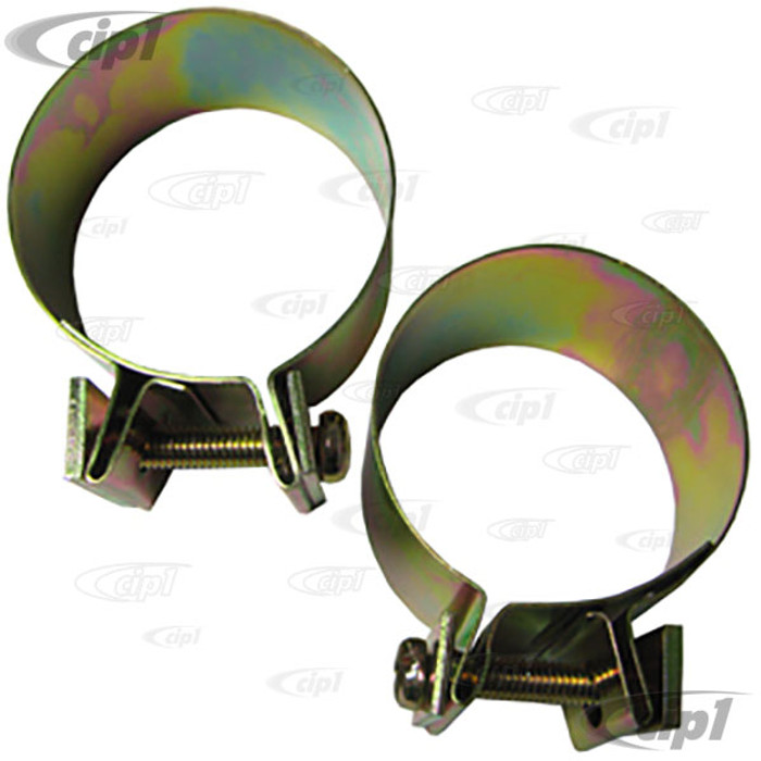 VWC-113-255-341-A2 - OE GERMAN QUALITY - SET OF 2 - BAND CLAMPS - MUFFLER TO HEATER BOX - BEETLE 63-74 / GHIA 63-74 / BUS 63-71 / THING 73-74 - SOLD PAIR