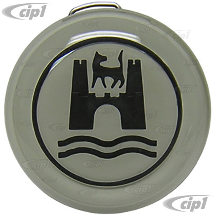 VWC-113-415-669-BW - HORN BUTTON - OE STYLE REPLACEMENT - BLACK WITH LIGHT GREY BACKGROUND - BEETLE 60-71 - GHIA 60-71 - TYPE 3 62-71