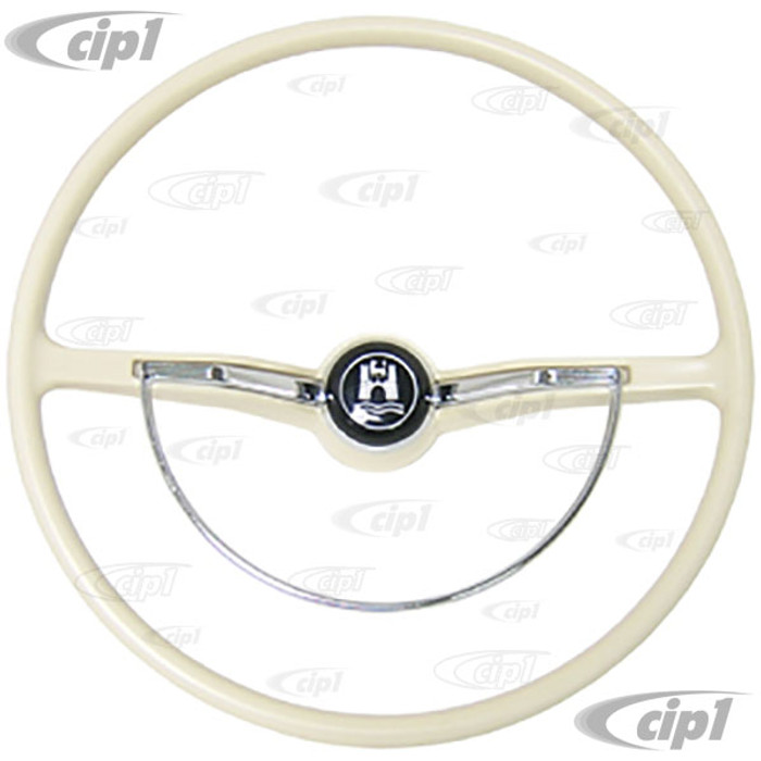 VWC-113-498-601-VKIT - COMPLETE STEERING WHEEL KIT - IVORY - 100% NEW - BEETLE SEDAN 62-71- BEETLE CONV. 62-70 - GHIA 62-71 - TYPE-3 62-71 (DOES NOT INCLUDE CANCELLATION RING)