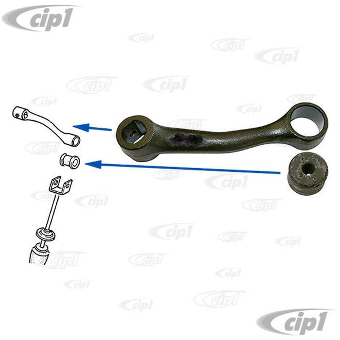 VWC-113-501-833 - (113501833) REAR Z-BAR ANTI ROLL BAR PIVOT LEVER WITH BUSHING - LEFT OR RIGHT SIDE - BEETLE/GHIA 68-77 WITH SWINGAXLE TRANSMISSION (67-68 USA MODELS ONLY) - NOT FOR I.R.S. SUSPENSION - SOLD EACH