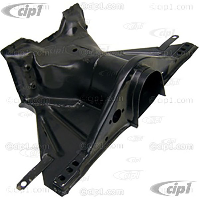 VWC-113-701-037-L - (113701037L) FRAME HEAD ASSEMBLY WITH (NAPOLEAN HAT) CHASSIS SUPPORT INCLUDED (113-701-131) - 2-3/4 INCH (70 MM) SPACE BETWEEN FRONT BEAM BOLT HOLES - BEETLE/GHIA 66-77 - SOLD EACH