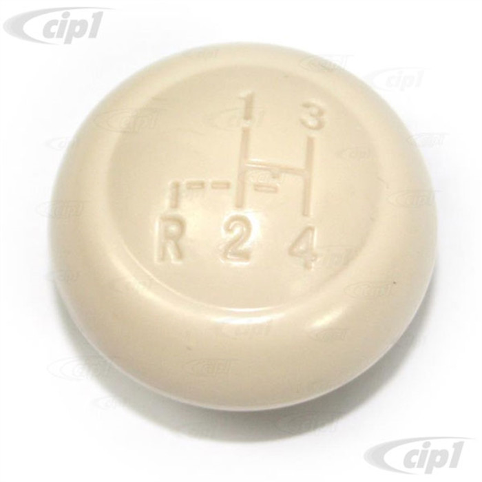 VWC-113-711-141-APIV - (113711141A) EXCELLENT REPRODUCTION - IVORY SHIFT KNOB WITH SHIFT PATTERN - 7MM - BEETLE 62-67 - GHIA 62-67 - SOLD EACH