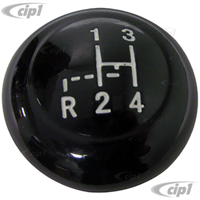 VWC-113-711-141-PBK - (113711141) EXCELLENT REPRODUCTION - BLACK SHIFT KNOB WITH SHIFT PATTERN - 10MM  - BEETLE 52-61 - GHIA 56-61 - BUS 52-67 - SOLD EACH