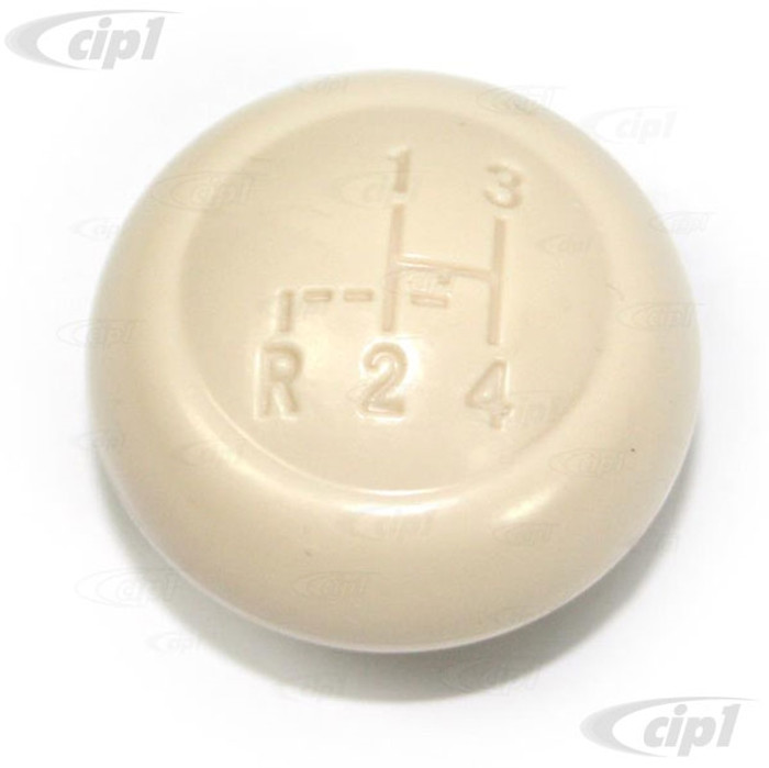 VWC-113-711-141-PIV - (113711141) EXCELLENT REPRODUCTION - IVORY SHIFT KNOB WITH SHIFT PATTERN - 10MM - BEETLE 52-61 - GHIA 56-61 - BUS 52-67 - SOLD EACH
