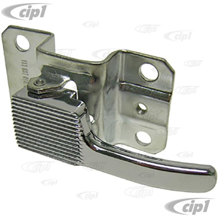 VWC-113-837-019-BCH - INNER DOOR RELEASE LEVER - LEFT - CHROME LEVER WITH METAL BRACKET - BEETLE 67-79 / GHIA 64-74 / TYPE-3 67-71