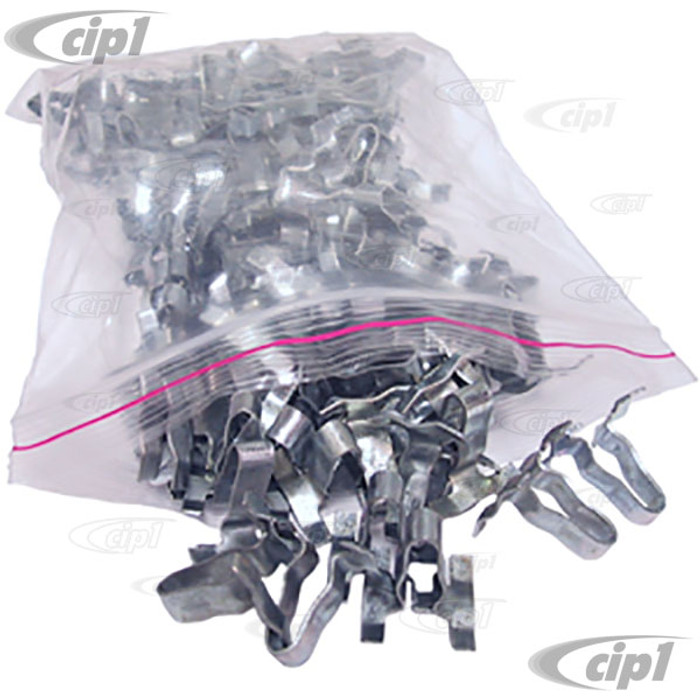 VWC-113-853-585-B100 - (113853585B) QUALITY REPRODUCTION - BAG OF 100 METAL BODY MOLDING CLIPS - BEETLE 46-66/TYPE-3 62-66 - SOLD BAG OF 100