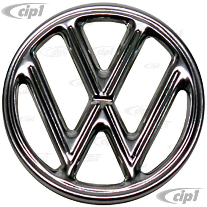 VWC-113-853-601-AGR - OE GERMAN VW - HOOD EMBLEM - EARLY BUG 60-63 - 3 PIN STYLE - METAL WITH PVC PLASTIC RING AND PINS - SOLD EACH