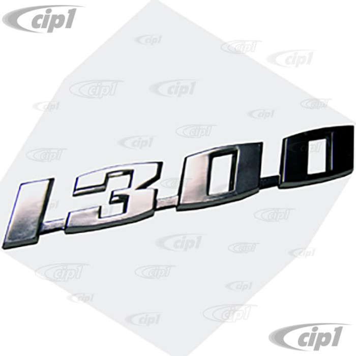 VWC-113-853-687 - (113853687) EXCELLENT REPRODUCTION - 1300 VOLKSWAGEN DECK LID SCRIPT - BEETLE ( MOUNTING CLIPS SOLD SEP.) - SOLD EACH