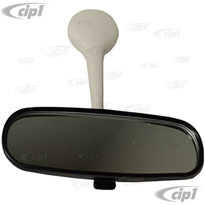 VWC-113-857-511-LWH - OE QUALITY - INTERIOR REAR VIEW MIRROR WITH WHITE ARM - STANDARD BEETLE SEDAN  68-77 (ALSO FITS 71-79 SUPER BEETLE BUT MIRROR SIZE IS SMALLER) - SOLD EACH