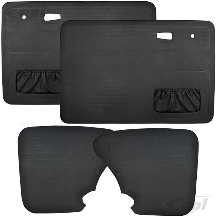VWC-113-898-015-BK - (113898015) BLACK DOOR PANEL 4 PIECE SET - BEETLE SEDAN 67-77 - WITH DOUBLE MAP POCKETS - SOLD SET OF 4