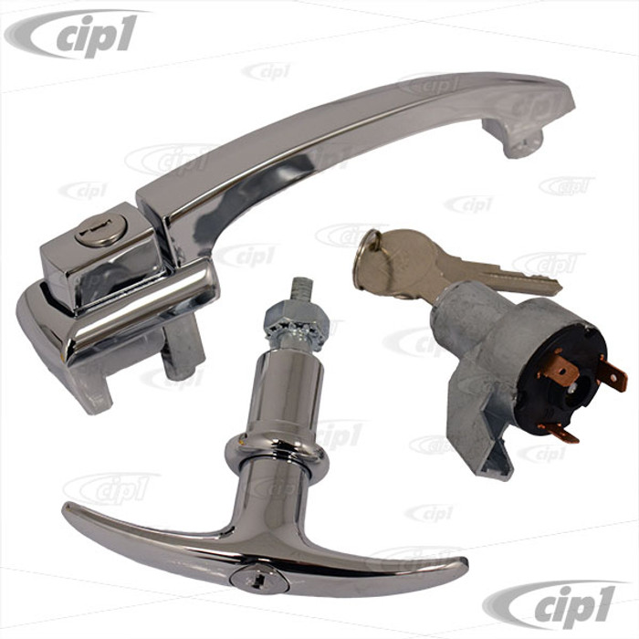 VWC-113-898-205-CKIT - SHOW QUALITY - KEYED ALIKE - 1 DOOR HANDLE / 1 T-HANDLE DECK LID LOCK / 1 IGNITION SWITCH - ALL KEYED ALIKE - BEETLE 60-64  up to ch #5 888 184 - SOLD SET
