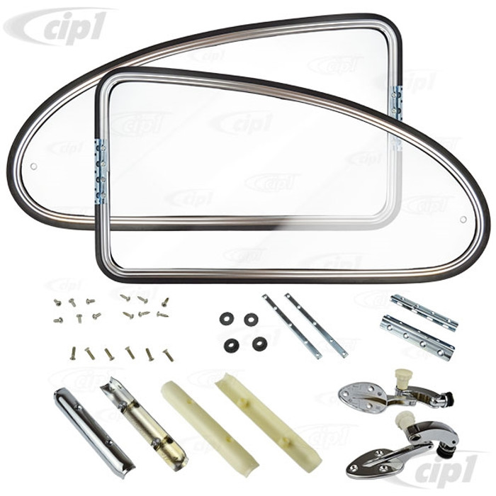 VWC-113-898-400-BC - (113898400B) REPRODUCTION - REAR QUARTER POP-OUT WINDOW KIT (SEE SPECIAL NOTES) - BEETLE 65-77 - BOTH SIDES (PINCH WELT NOT INCLUDED) - SOLD PAIR