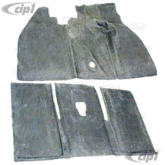 VWC-113-898-703-K - 68-72 BEETLE FRONT & REAR BLACK RUBBER MAT SET 2PC SET INC. OVER HUMP (SHIPPING CHARGES APPLY)