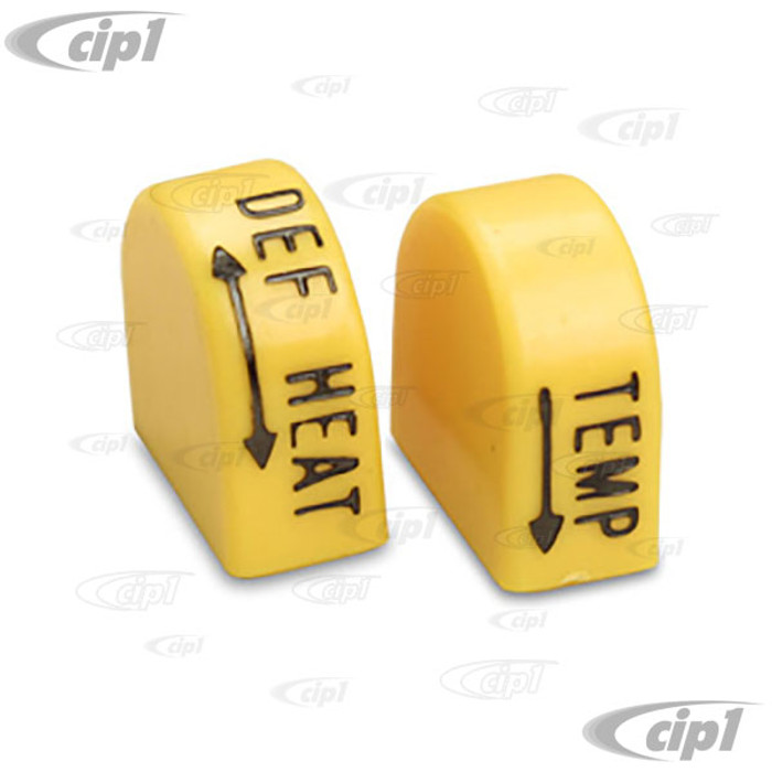 VWC-133-819-680-PR -  YELLOW HEATER/DEFROST CONTROL KNOBS - BEETLE 72-79 -GHIA 72-74 -TYPE-3 72-73   SOLD PAIR