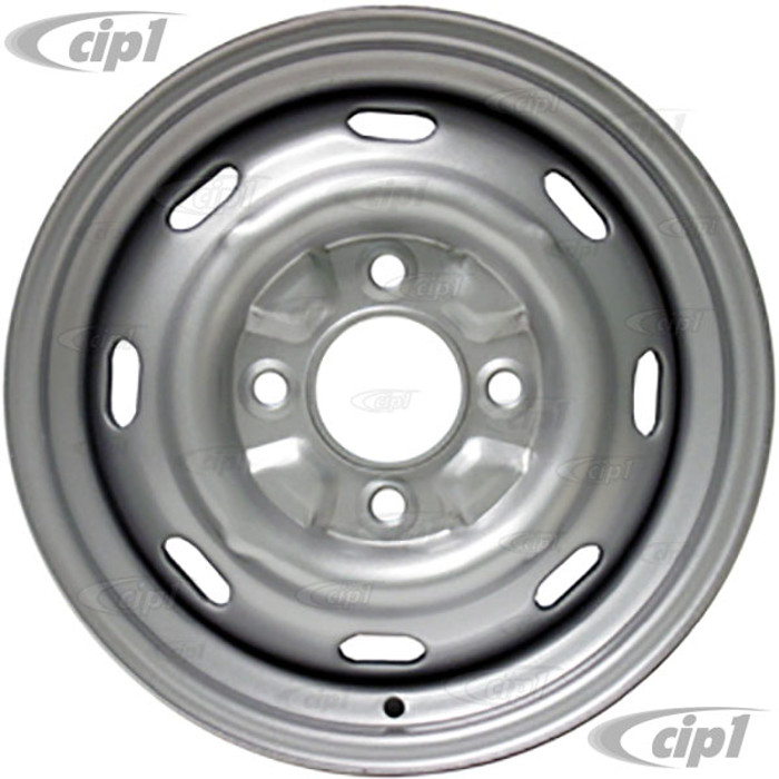 VWC-135-601-025-P - STOCK 4X130MM 4 BOLT STEEL WHEEL - PAINTED SILVER - 15X5-1/2 (4-5/16 INCH BACK SPACING/+25 ET) - BEETLE 68-79 - GHIA 67-74 - TYPE-3 - SOLD EACH