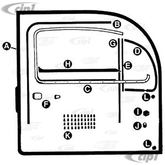A48-8316 - COMPLETE DELUXE DOOR SEAL KIT LEFT & RIGHT (BOTH DOORS) WITH GERMAN DOOR SEALS AND TRIM FRAMES - BEETLE 65-66 - SOLD EACH