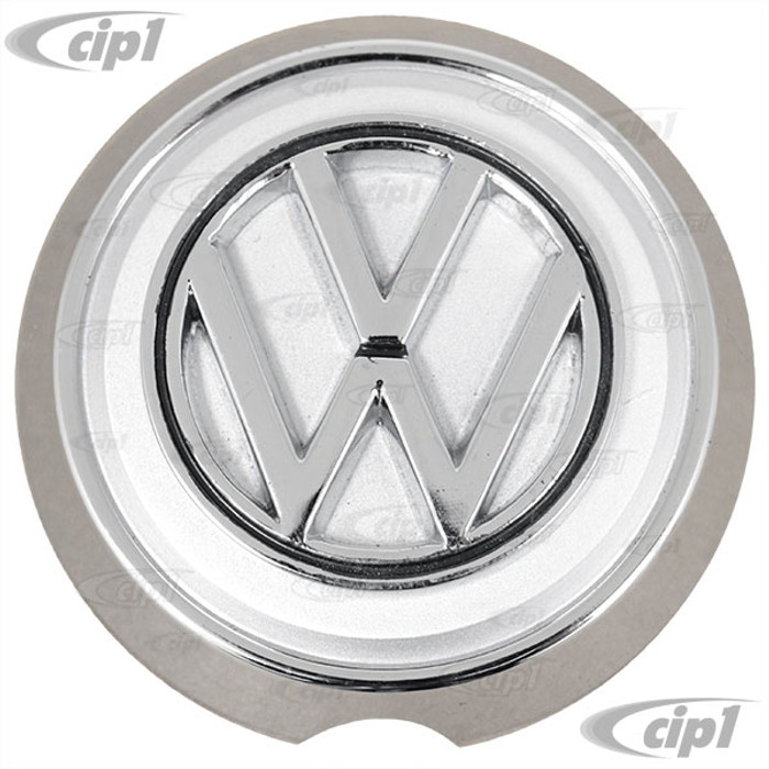 VWC-141-853-601-BST - FRONT NOSE EMBLEM WITH BASE - GHIA 62-74 - SOLD EACH