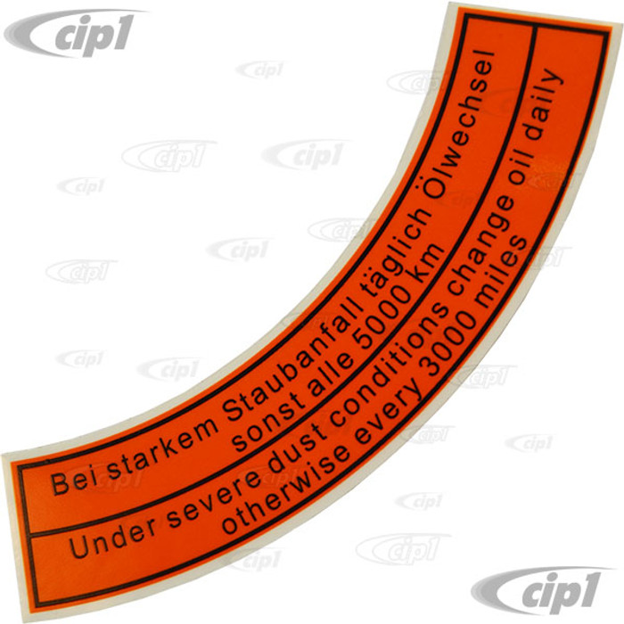 ACC-C10-9710 - ORIGINAL STYLE EARLY AIR CLEANER DECAL - 5X 1 -5 FOR TOP (CURVED)
