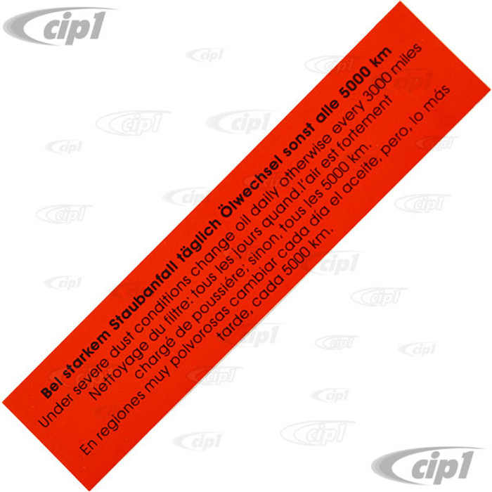 ACC-C10-9711 - ORIGINAL STYLE LATE AIR CLEANER DECAL - 5X 1 -25 FOR SIDE (RECTANGLE)