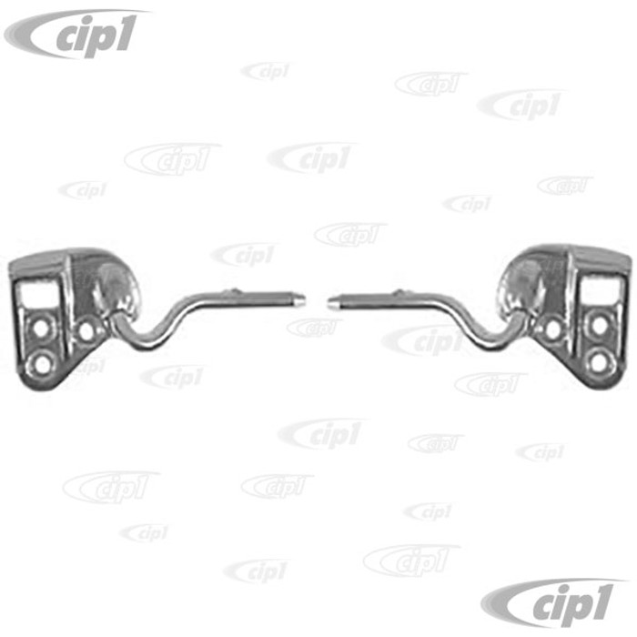 VWC-151-857-500-LR - CHROME TOP LOCK CATCHES WITH PIVOTS (VISOR HARDWARE) BEETLE CONVERTIBLE 68-72  PAIR