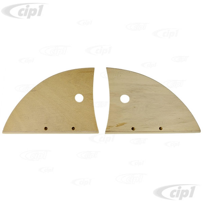 VWC-151-871-193-PR - (151871193) - FROM GERMANY - LEFT AND RIGHT PAIR OF HINGE COVERS - PRECISION MILLED WOOD - BEETLE CONVERTIBLE 52-64 - SOLD PAIR