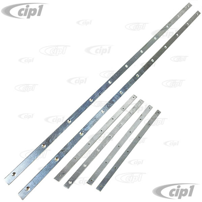 VWC-151-871-359-BST - (151871359B) - ALUMINUM SECURING STRIPS/INSERT BARS FOR SIDE TOP SEALS (SCREWS SOLD SEP. SEE VHD-N11-3221-50) - BEETLE 1972 ONLY - SOLD 6 PIECE SET