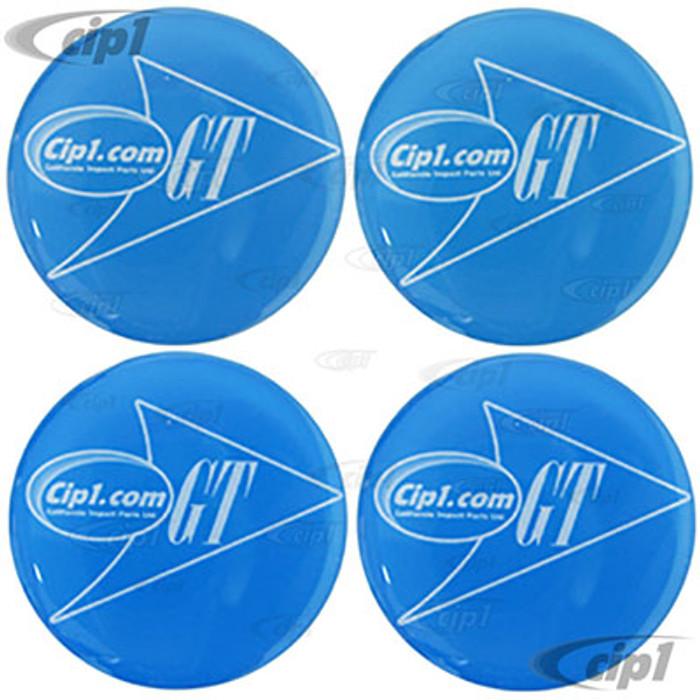 ACC-C10-9722-27MM - BLUE GTV STYLE CENTER CAP DECALS - 27MM DIAMETER - SET OF 4
